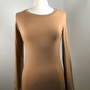 Ambiance Apparel Womens T-Shirt Brown Long Sleeves